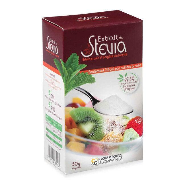Comptoirs et Compagnies Edulcorant à base de Stévia en poudre - Boîte de 50g