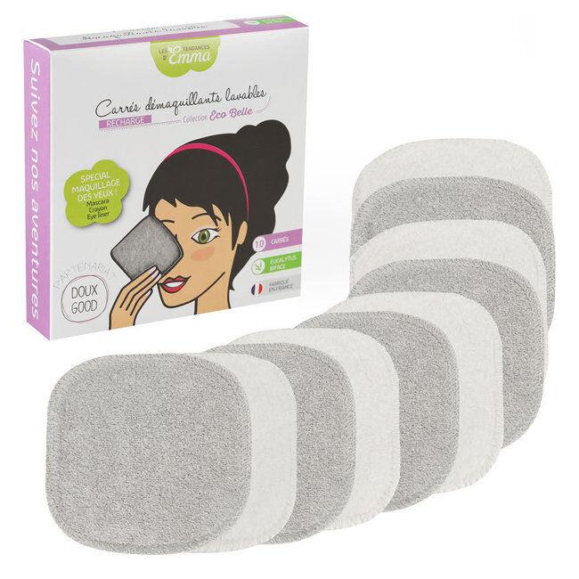Les Tendances d'Emma 10 carrés démaquillants lavables en eucalyptus Gris