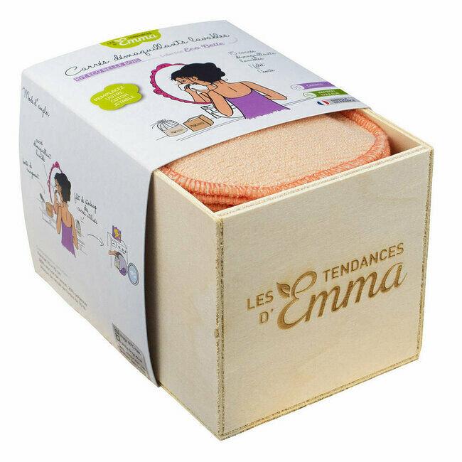 Les Tendances d'Emma Kit Eco Belle Bois Bambou couleur - 15 carrés démaquillants lavables