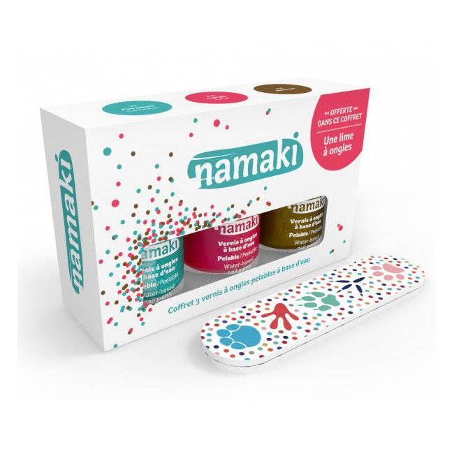 Namaki Coffret 3 Vernis à ongles pour enfant - Corail, Caraïbes et Bronze