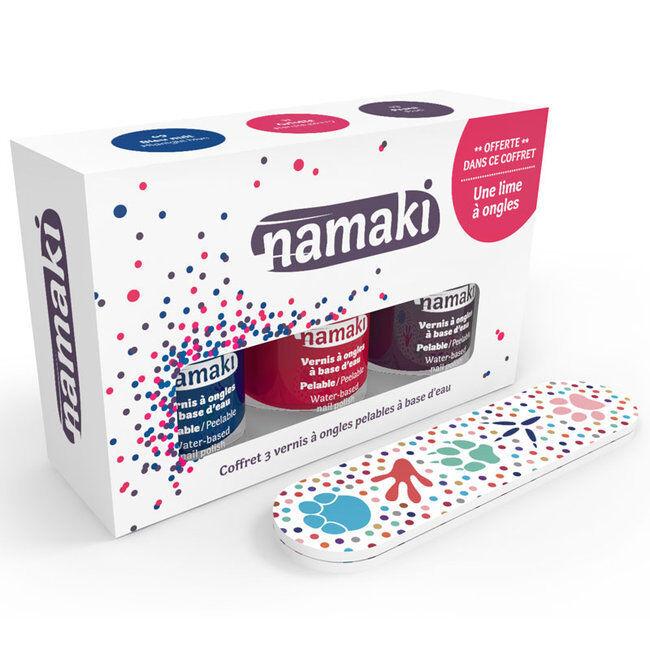 Namaki Coffret 3 Vernis à ongles pour enfant - Griotte, Bleu nuit et Prune