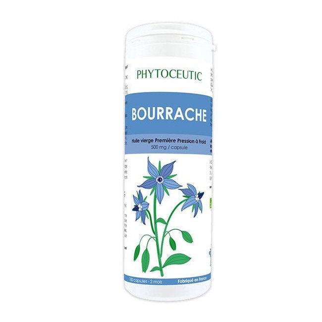 Phytoceutic Huile de Bourrache bio - Beauté de la peau - 180 capsules