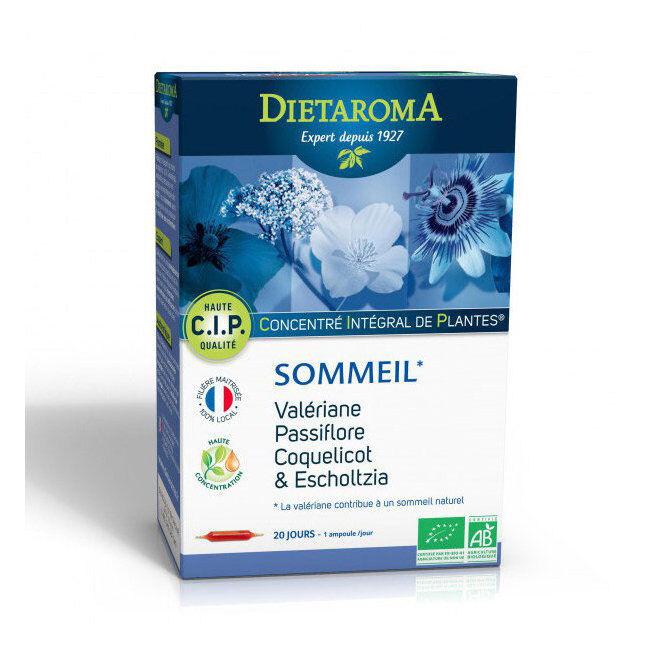 Dietaroma CIP Sommeil bio - Passiflore, Valériane, Coquelicot - 20 ampoules