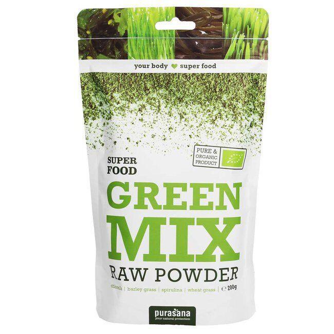 Purasana Poudre Green Mix bio 200 g - Spiruline, Chlorella, Herbe d'orge