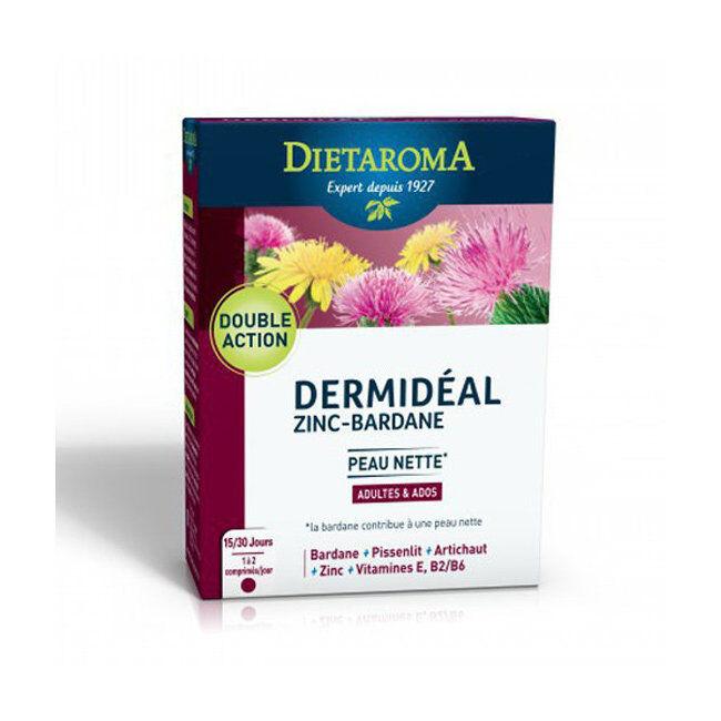 Dietaroma Dermidéal - Zinc Bardane - Peau nette - 30 comprimés