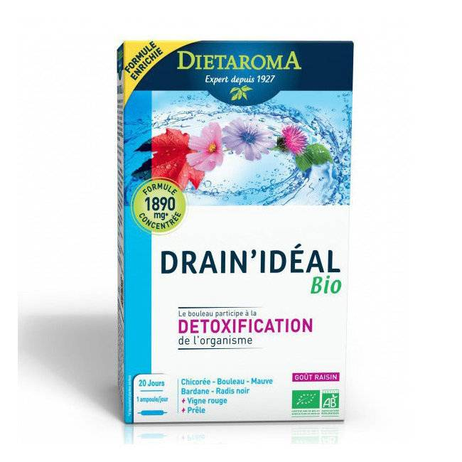 Dietaroma Drain'idéal bio - Détoxification - Bouleau, Radis noir - 20 ampoules