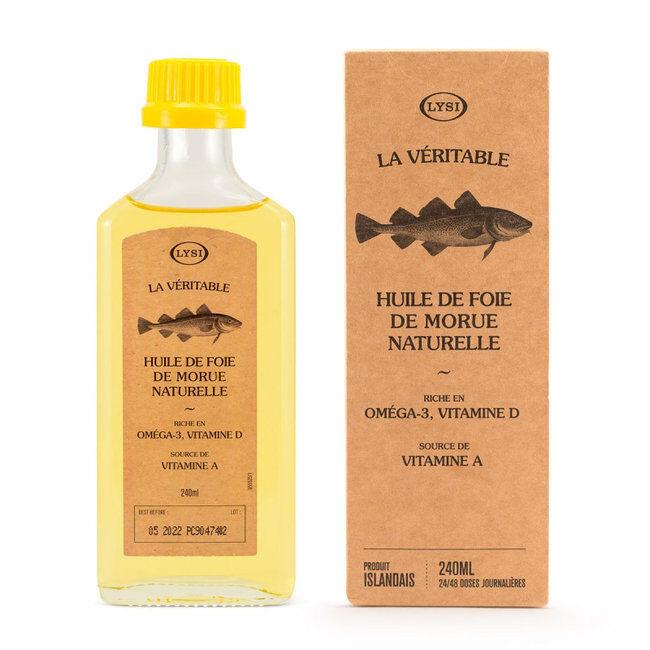 Lysi Huile de foie de morue naturelle - Oméga 3 et vitamine D - 240ml