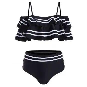DressLily Couches Flounce Panneau rayé à épaules maillot de bain Bikini