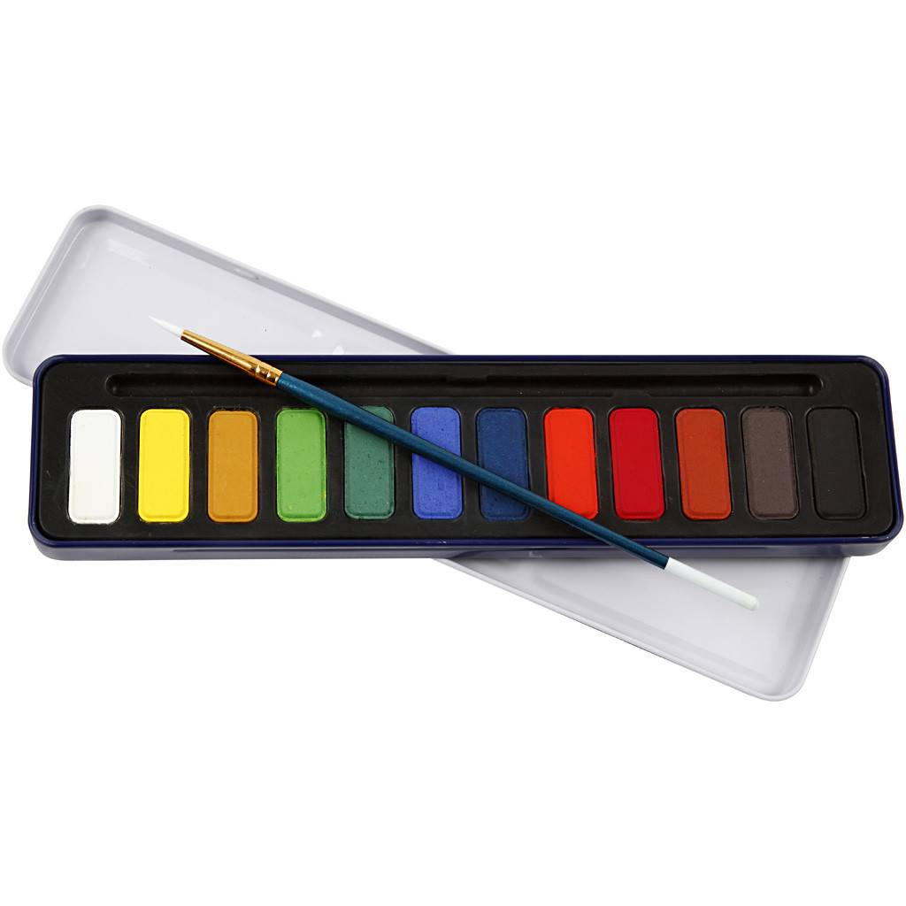 Packlinq Set de peinture Aquarelle, dim. 12x30 mm, Couleurs assorties, 12couleurs