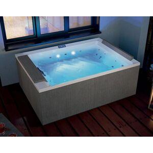 Novellini Minipool Divina Outdoor M SPA Plus UV+ Lumières Led Blanches 190x140 - Nero - L - Publicité