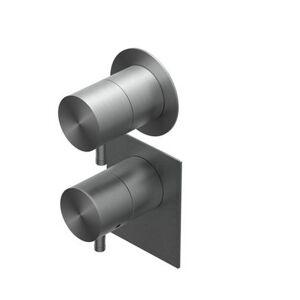 Ritmonio Mitigeur thermostatique de douche encastré Diametro 35 - Brushed Black Chrome BL - Publicité