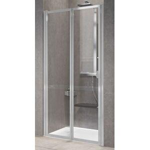 Novellini Porte de douche à rabat gratuit 2P 90 - Niva - argent - Avec joint inférieur - Publicité