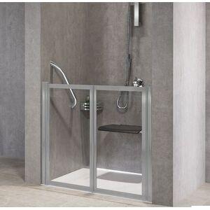 Novellini Porte de douche à rabat gratuit 2P 90 - transparent - argent - Avec joint inféri - Publicité