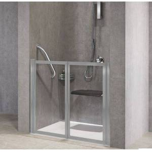 Novellini Cahier 2P 70 - Porte de Douche Pliable - transparent - blanc - Avec joint inféri - Publicité