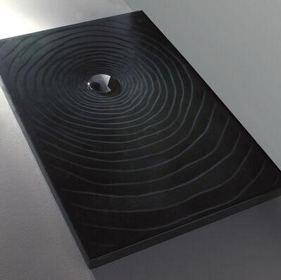 Flaminia Receveur de douche à gouttes d'eau Flaminia 120x80 H5.5 en céramique noire polie