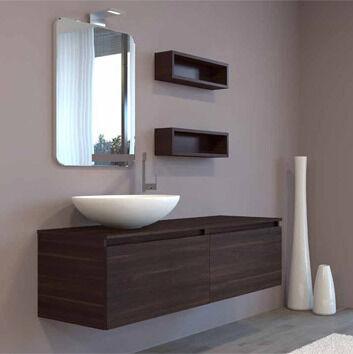 Mobilduenne Armoire de toilette complète avec miroir cm140 - Mélèze noir
