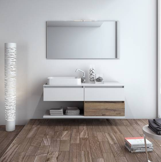 Mobilduenne Armoire de toilette suspendue avec miroir cm140 - Finition bicolore laque / bois