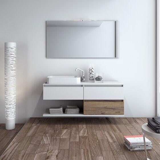Mobilduenne Armoire de toilette suspendue avec miroir cm140 - Laque blanche brillante
