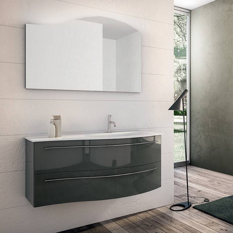 Mobilduenne Unité Onda complète avec miroir de 105 cm - Droit - Laque blanche brillante