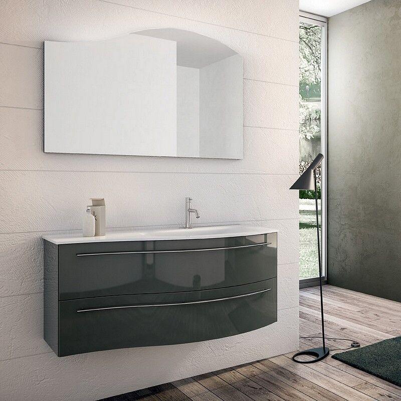 Mobilduenne Unité Onda complète avec miroir de 105 cm - Droit - Spatolato Nero