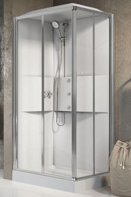 Novellini Cabine de douche Media 2.0 A100x80 - Mélangeur mécanique - blanc - Droit