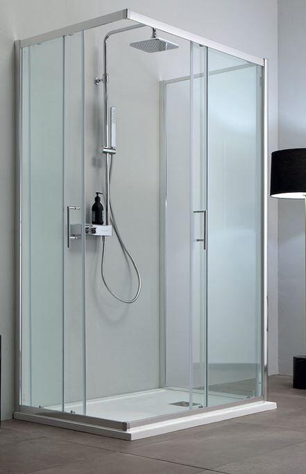 Tamanaco Boîte de douche 3 côtés 100x80 ouverture à angle coulissant - transparent