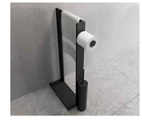 Novellini Porte-serviettes avec porte-rouleau de papier toilette et brosse de toilette en