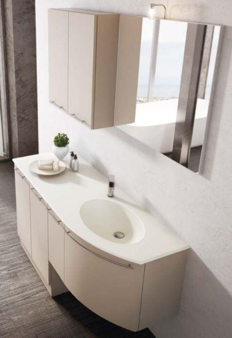 Mobilduenne Armoire de toilette avec porte lave-linge 150 cm - Blanc brillant - gauche - Mat