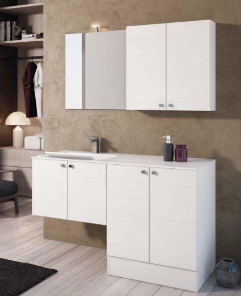 Mobilduenne Armoire de toilette avec porte lave-linge et lavabo cm 131 - Blanc brillant - Ma