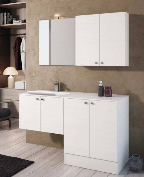 Mobilduenne Armoire de toilette avec porte lave-linge et lavabo cm 131 - Spatule Grise - Bla