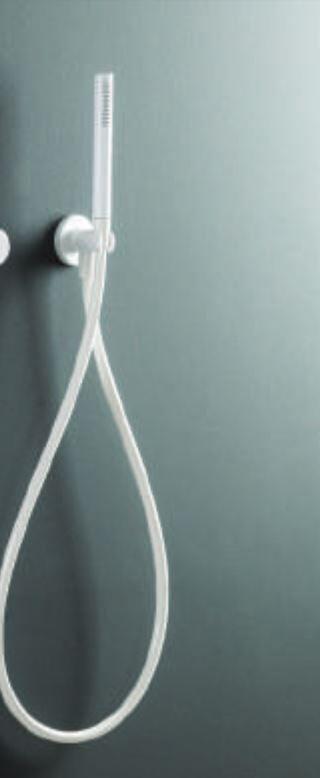 Ritmonio Douche complète avec tuyau et sortie d'eau blanche ou noire - blanc