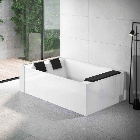 Novellini Baignoire Divina Dual 190x140 - Poudre d'argile - Blanc doux - SANS ROBINET