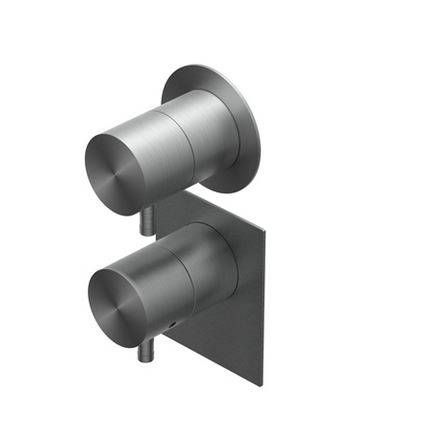 Ritmonio Mitigeur thermostatique de douche encastré Diametro 35 - Brushed Black Chrome BL