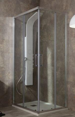 Tamanaco Boîte de douche Flex 140x80 ouverture à angle coulissant - satin