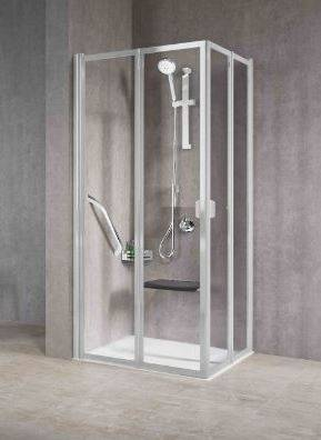 Novellini Cabine de douche dissimulée avec 2 côtés gratuits rabattables 2A 70x70 - argent