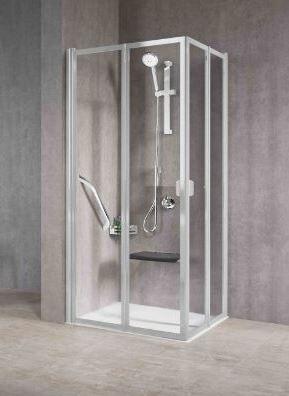 Novellini Cabine de douche dissimulée avec 2 côtés gratuits pliables 2A 65x70 - argent - a