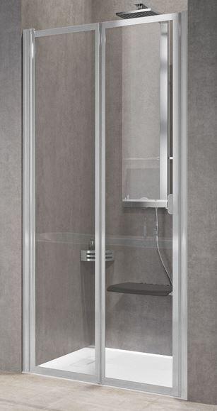 Novellini Porte de douche à rabat gratuit 2P 90 - transparent - blanc - Avec joint inférie