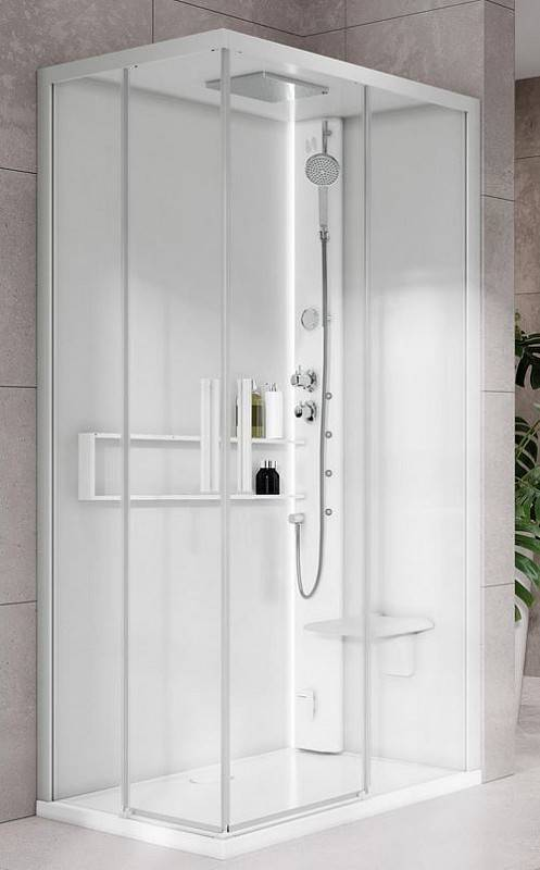 Novellini Boîte d'hydromassage et sauna Hamman Glax 2 2.0 A 90x70 - Total Blanc - Mélangeu
