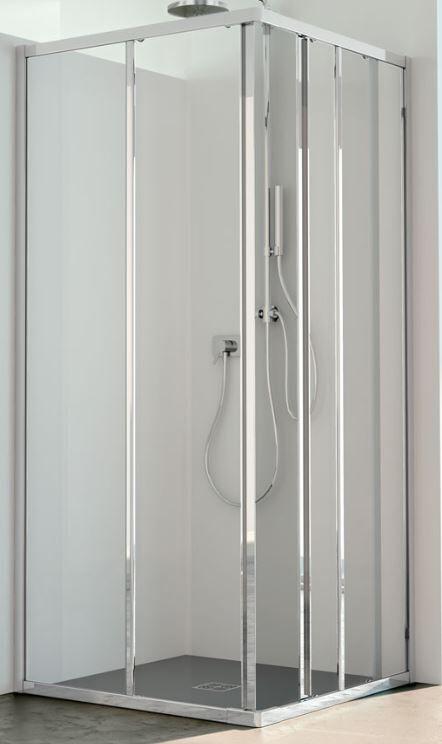CSA Box Doccia Boîte de douche Jade A.2FS 65X70 ouverture de porte à angle coulissant - Argent