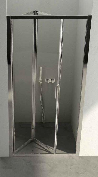 CSA Box Doccia Porte de douche soufflet Giulia P 80 HAUTEUR PERSONNALISE - Argent poli - transp