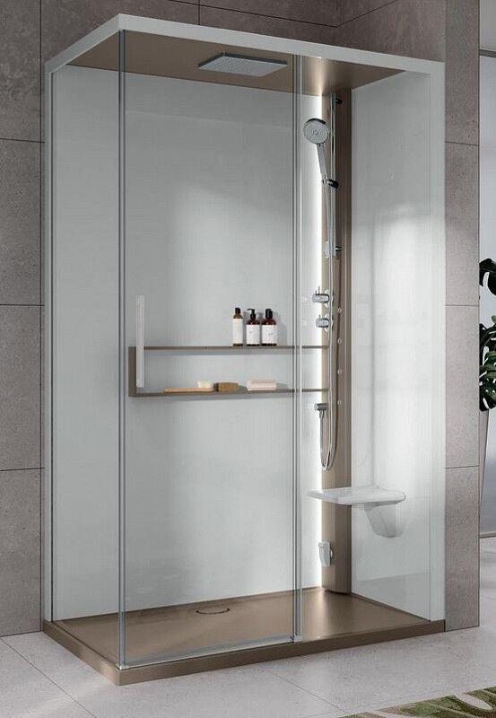 Novellini Boîte d'hydromassage Hydro Plus Glax 2 2.0 2P 120x80 - Total Blanc - Mélangeur m