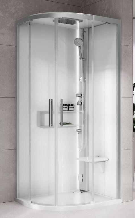 Novellini Boîte d'hydromassage Hydro Glax 2 2.0 R100x100 - Total Blanc - Mélangeur mécaniq