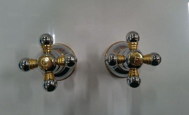 Nobili Rubinetteria Robinet de douche encastré 2 boutons de bijoux en chrome or
