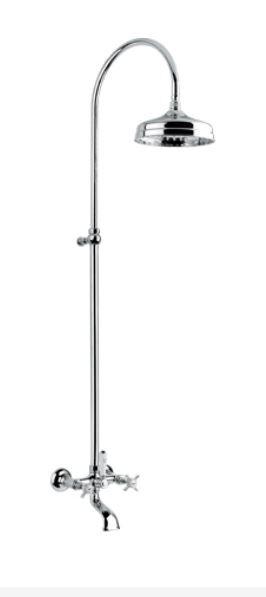 Bugnatese Colonne Princeton avec unité externe pour baignoire et gargouille - Chrome / Or