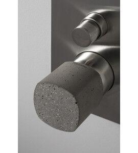 Ritmonio Mitigeur de douche encastré avec déviateur brossé haptique avec poignée en béton