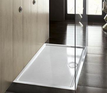 HATRIA Ceramic Shower Tray 100x80 H6 - Avec drain blanc et couvercle