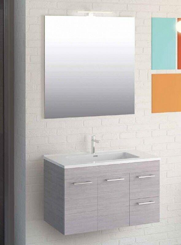 Iotti Armoire de toilette Linea cm 80 en 4 couleurs - Bois Grigio Sfumato