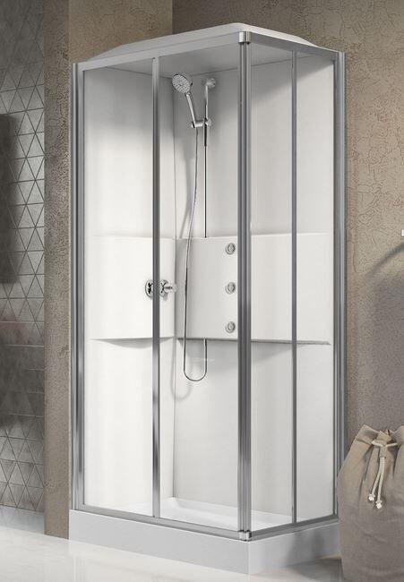 Novellini Cabine de douche Media 2.0 A100x70 - Mélangeur thermostatique - blanc - Droit