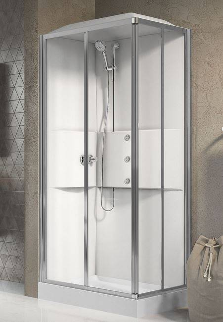 Novellini Cabine de douche Media 2.0 A100x70 - Mélangeur thermostatique - blanc - Droit