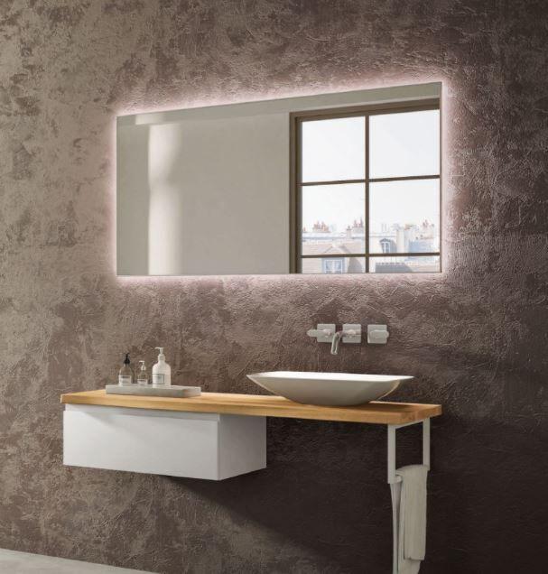 Mobilduenne Salle de bain mobile de 140 cm avec dessus en bois massif - Noix Canaletto - Mat